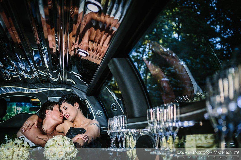 limo trouwfoto bruidsfoto bruid bruiden lesbisch homohuwelijk gay lgbt same-sex wedding utrecht wijk_bij_duurstede breda zwarte bruidsjurk