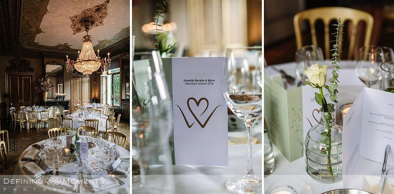 detailfoto gedekte tafels bruidspaar diner landgoed wolfslaar grote salon breda speeches authentieke ongeposeerde documentaire trouwfotografie journalistieke bruidsfotografie
